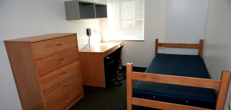 Empty residence hall room