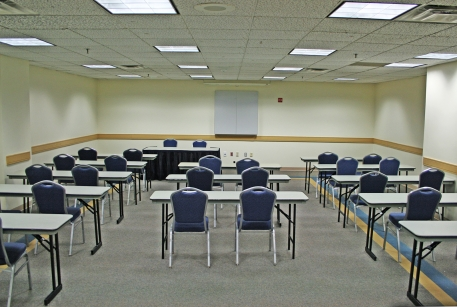 Foggy Bottom meeting room with classroom style setup, 40-60 people