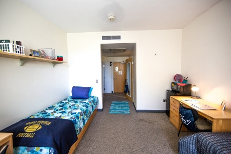 A Somers Hall two-person adjoined bath room on the Mount Vernon Campus